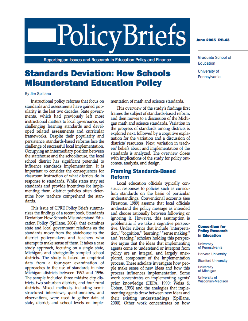 Standards Deviation How Schools Misunderstand Education Policy